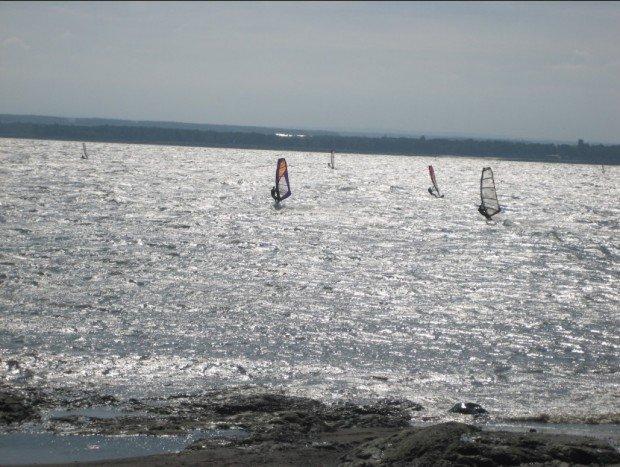 """Windsurfers at Ile d'Orleans"""