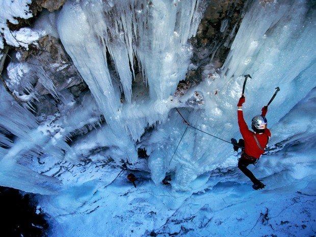 """Ice Climbing Goat Dome Falls Climb"""