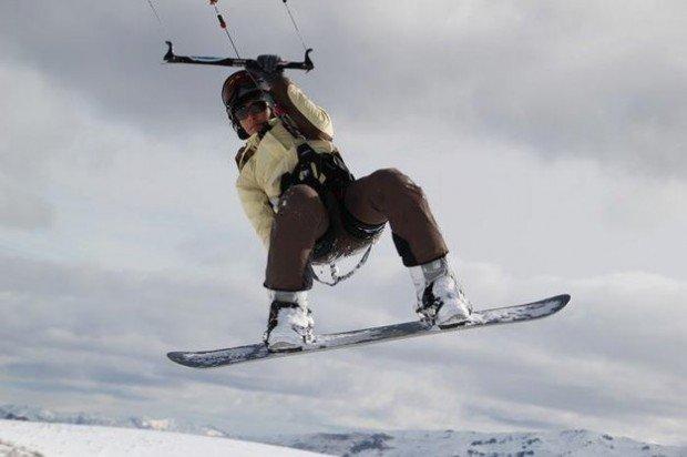 """Snow-Kiting near Treble Cone Resort"""