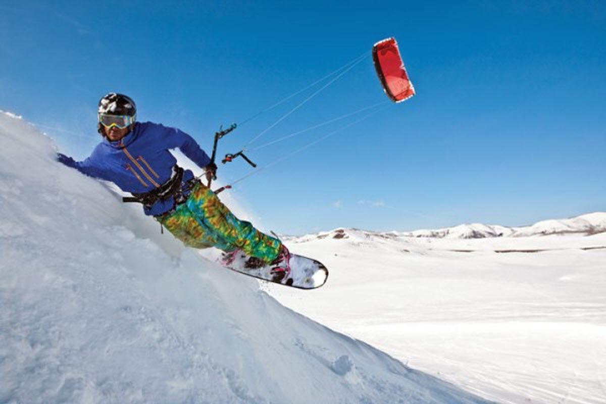 snow kiting soda springs ski resort truckee california usa