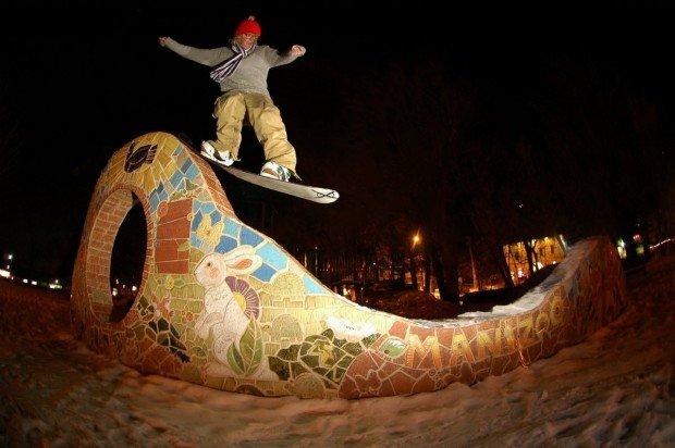 """Snowboarder at Mount Shasta Ski Park"""