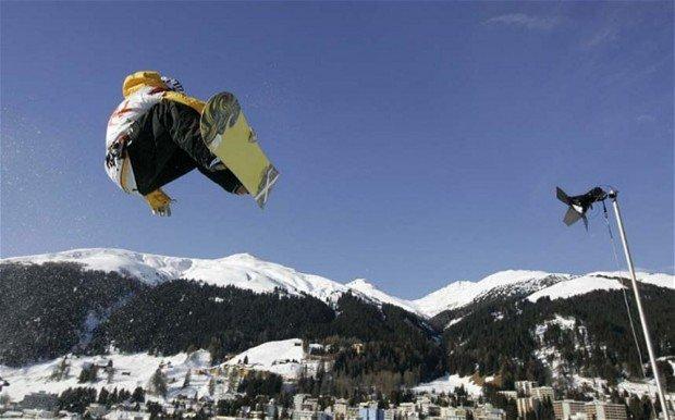 """Snowboarder at Parsenn Bowl"""