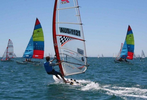 """""""Wind Surfing at Largs Bay Sailing Club Beach"""""""