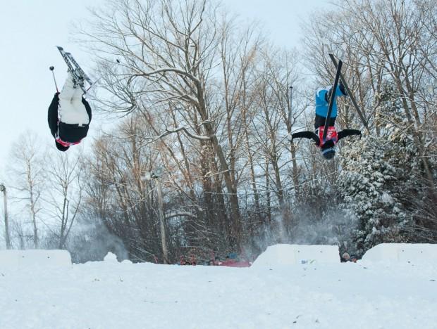 """Ski Mont Gabriel Alpine Skiers jumping"""