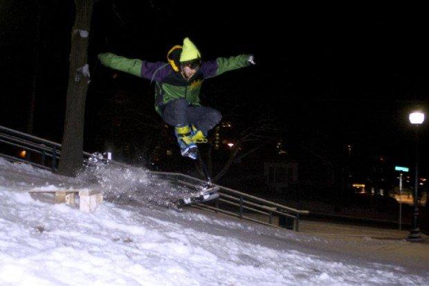 """""""Snowskater performing trick"""""""