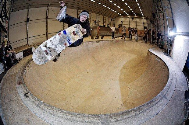 """Skateboarder at a bowl in Essen"""