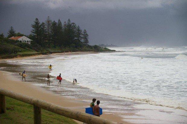 """Windsurfing at Moffat beach"""
