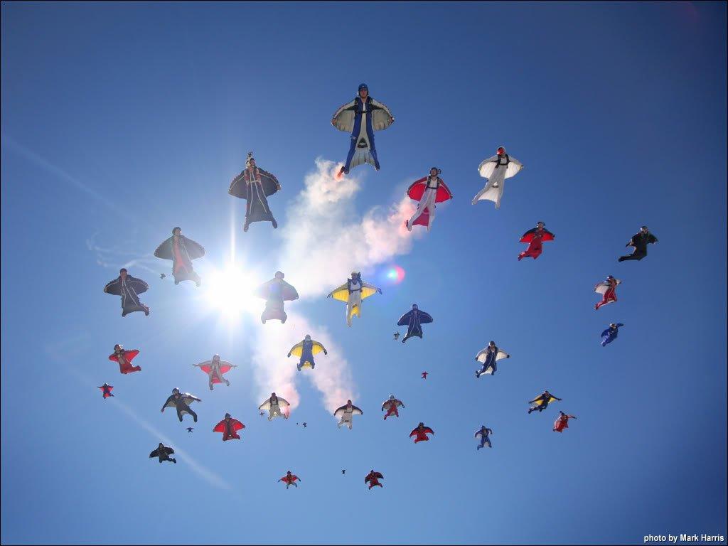 Wingsuit Flying Palm Jumeirah Island Dubai United Arab Emirates