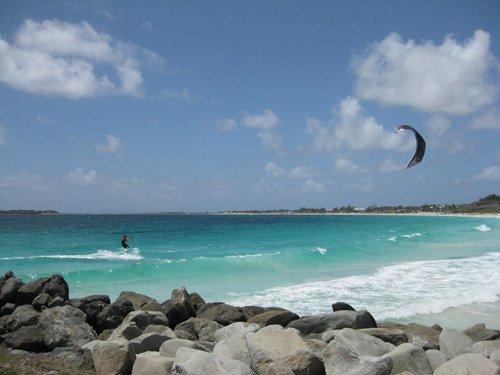 """Kitesurfing at Orient Bay """