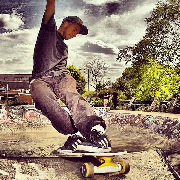 """Skate Boarding in Meanwhile Gardens"""