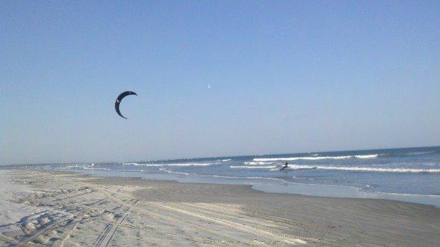 """Kiteboarding at Huguenot Memorial Park Beach"""