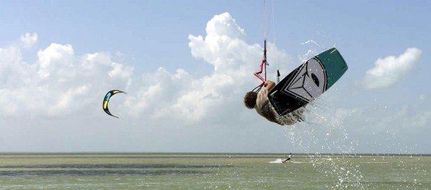 """Kiteboarding at Playa del Carmen"""