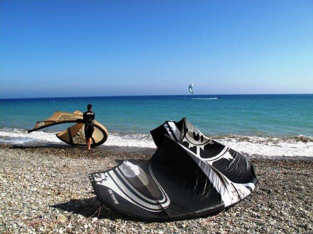 """Kitesurfing at Pervolia Beach"""