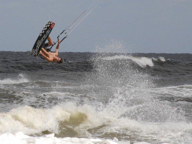 """Kitesurfing at Sulina Beach"""