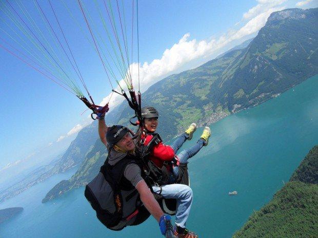 """""""Paragliding over Lake Lucerne"""""""