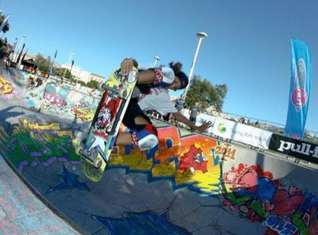 """Skate Boarding in Marseille Skatepark"""