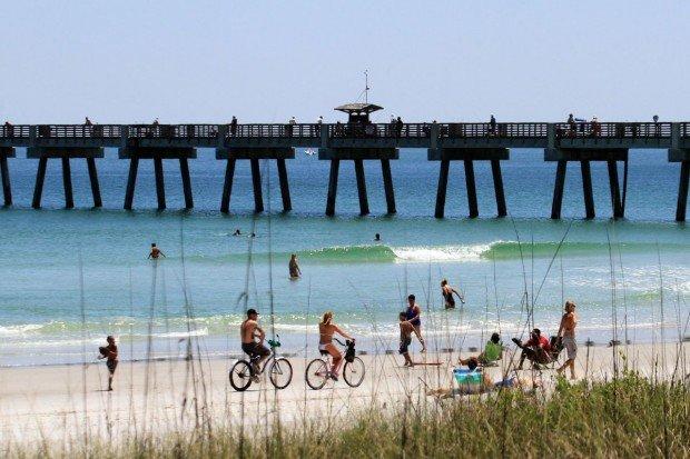 """""""Surfing at Jax Beach Pier"""""""
