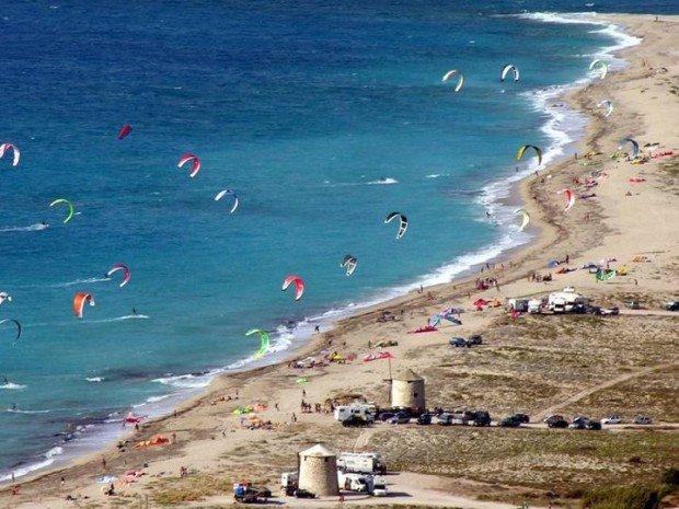 """Kitesurfing at Agios Ioannis Beach"""