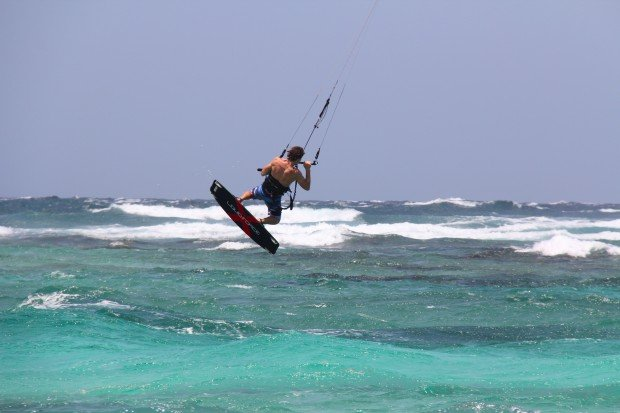 """Kitesurfing at Boca Grandi"""
