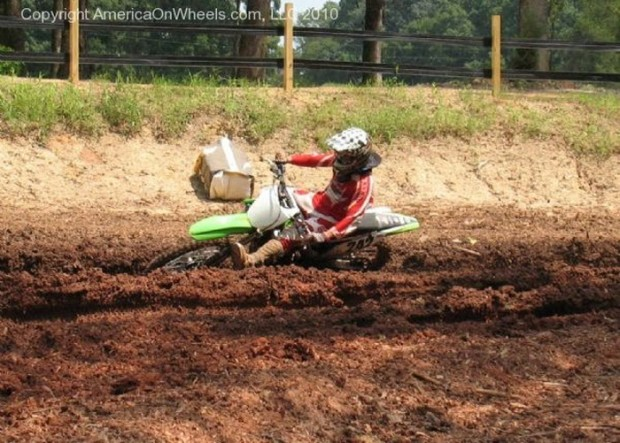 """Motocross riders in Darhamtown Plantation Sportsman's Resort"""