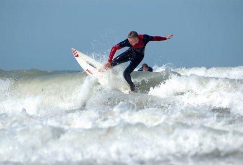 """Surfing at Joss Bay"""