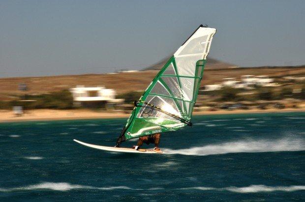 """Windsurfing at Chrisi Akti Beach"""