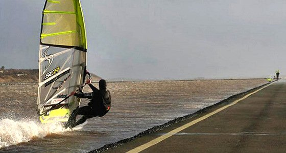 ''Windsurfing at West Kirby''