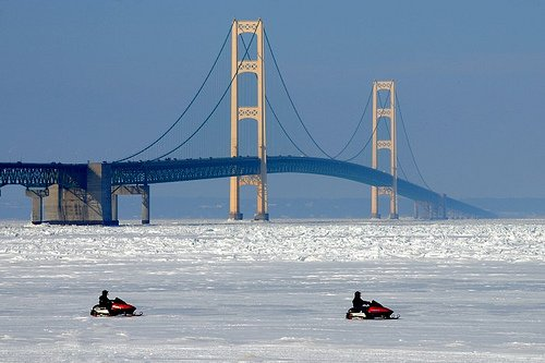 """Snowmobiling in St. Ignace"""