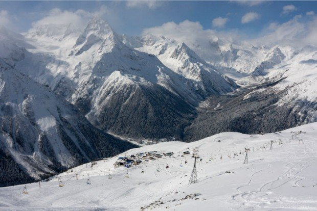 """""""View of the trails in Dombay Ski Resort"""""""