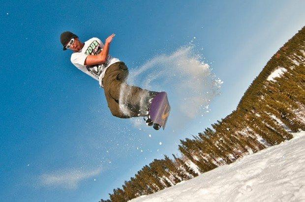 """ Snowboarding at Ski Mystic"""