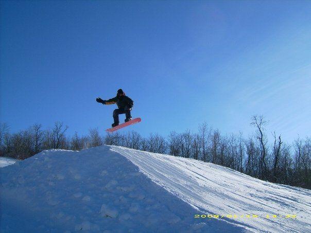 """Snowboarding at Bottineau Winter Park"""