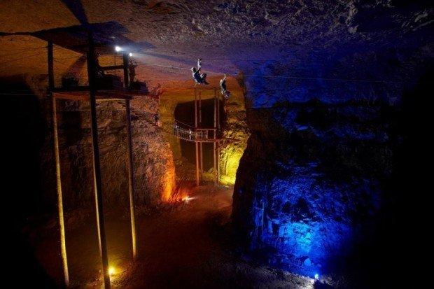 """Ziplining in Louisville Mega Cavern, KY"""